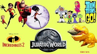 Disney Pixar Incredibles 2 Teen Titans GO! vs Dinosaurs Jurassic World T-Rex Toys, LOL Lil Sister
