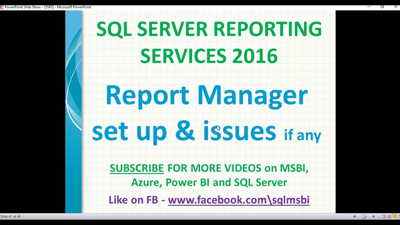 Configure SQL Server Reporting services 2016 | Report Manager Setup in SSRS  2016