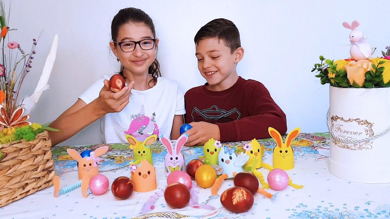 Children play with eggs and paint them in different natural patterns.Video by  KIDS TOYS CHANNEL
