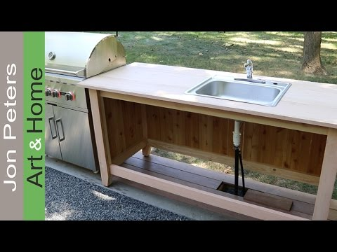 Build An Outdoor Kitchen Cabinet & Countertop With Sink - Youtube