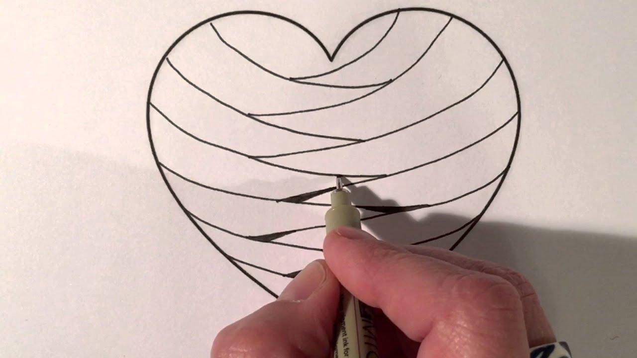 Line Art Valentine : Valentine zentangle heart series #1 betweed youtube