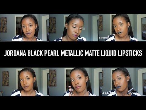 Jordana Black Pearl Metallic Matte Liquid Lipstick || Swatches + Review