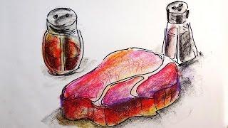 Как нарисовать МЯСО / Видео урок рисования для детей