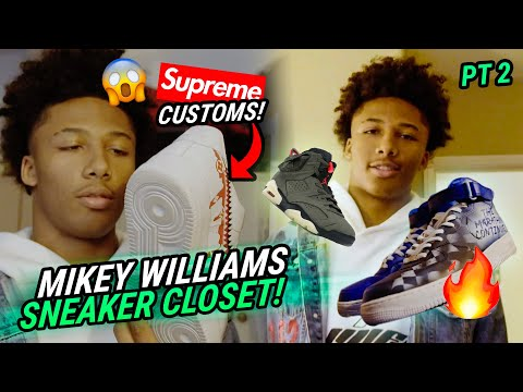 """Bronny Gave Me These!"" Mikey Williams Shows Off BRAND NEW Sneaker Collection! He's Got Black AF1s?"