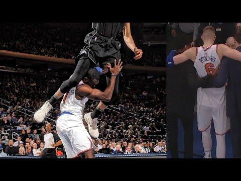 Giannis Jumps Over Hardaway! Porzingis Torn ACL, Bucks vs Knicks 2017-18 Season