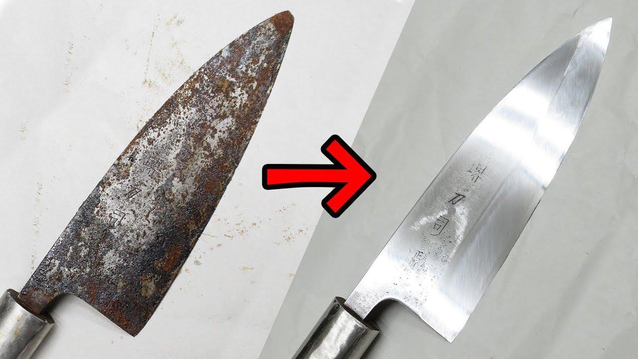 刃こぼれ錆包丁を実用レベルまで研いでみた☆Knife Sharpening