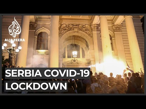 Demonstrators storm Serbian parliament over coronavirus lockdown