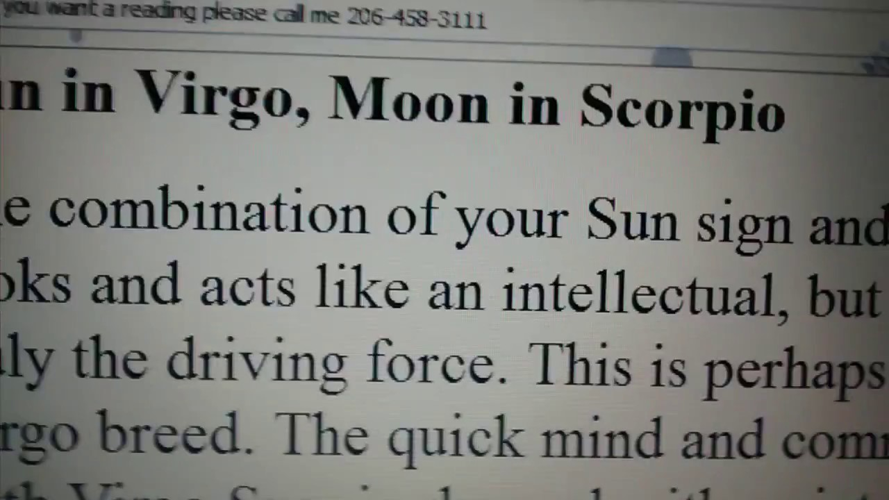 Virgo sun scorpio moon man