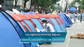 Del 23 de marzo al 31 de agosto, se ha realizado distintas manifestaciones en el Zócalo, desde integrantes de la CNTE hasta familias de víctimas de feminicidio
