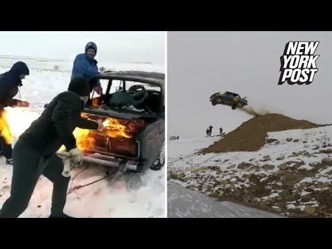 Dave Hill - Bunch Of Russian Guys Launch Burning Car into Frozen lake
