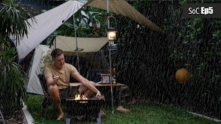 Backyard Camping in tнe rain, Covid lockdown, cosy campfire, SoC Ep5