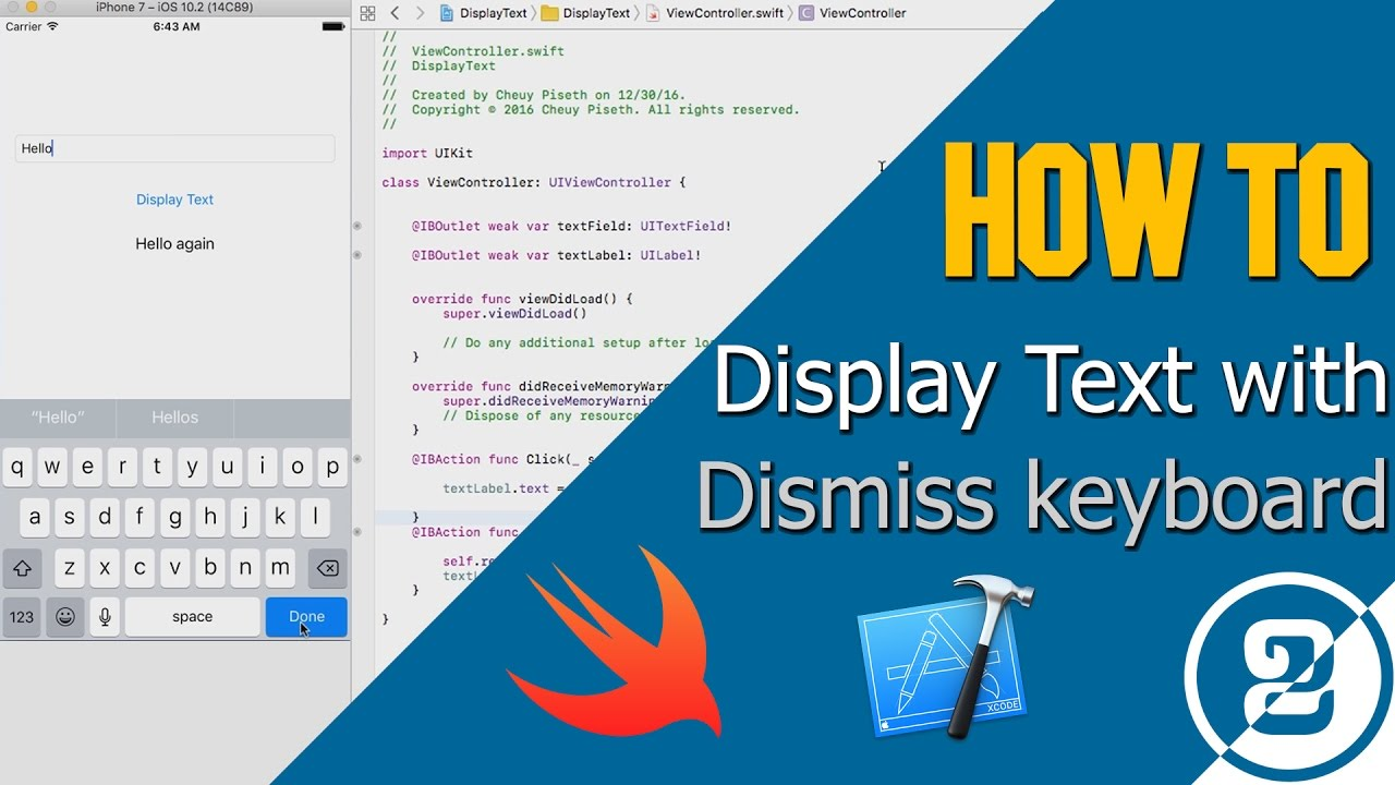 How to Dismiss keyboard and Display text in Xcode 8, Swift 3