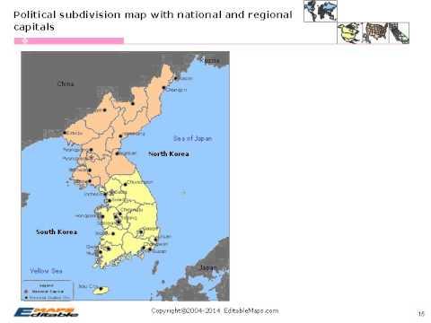 Korea Editable Map