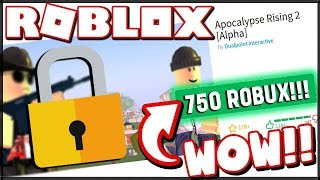 FOR ROBUX 750? THIS IS THE BEST SURVIVAL GAME IN ROBLOX! -Apocalypse Rising 2