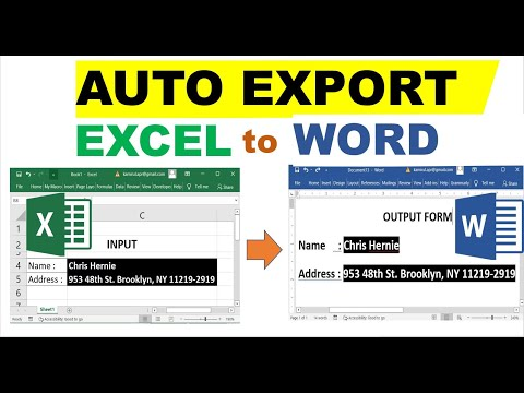 Auto Export Excel Data to MS Word Form