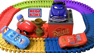 Pocoyo wins Piston Cup Race MegaBloks CARS 7794 Playset Disney Pixar Cars Swiggle Traks Racetrack