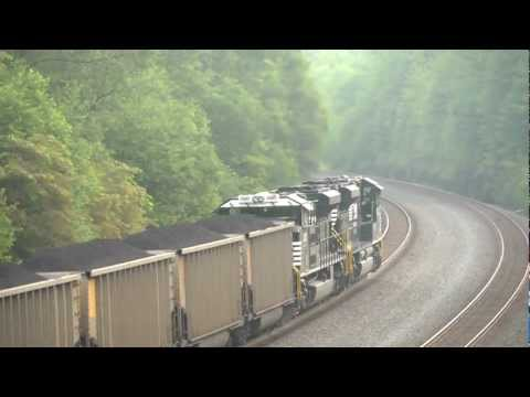 (5)  NS SD70ACe's Forcing Coal Loads Up The West Slope @ Cassandra  July 18  2011