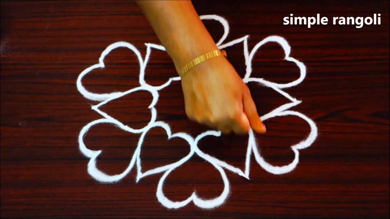 Download simple muggulu patterns with 5x3 dots || creative heart kolam designs || easy modern rangoli designs