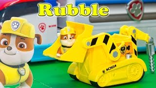 PAW PATROL Nickelodeon Paw Patrol Rubble Light and Sounds Vehicle Paw Patrol Video Toy Review