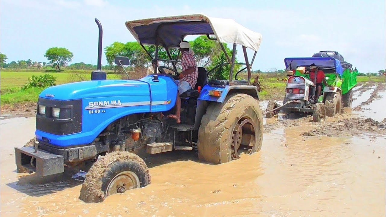 Sonalika Di 60 Rx Pulling Eicher 242 Stuck in Mud Very Badly with Trolley
