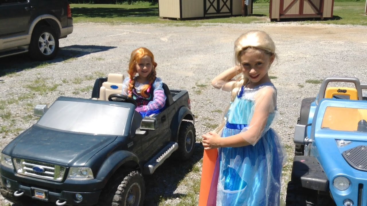 Elsa And Anna Let It Go Frozen Princesses Race 18 Volt Modified Power Wheels Gaucho Need Help Its Youtube Uninterrupted