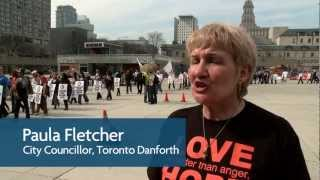 Paula Fletcher at Toronto Public Library Workers Union Rally at City Hall