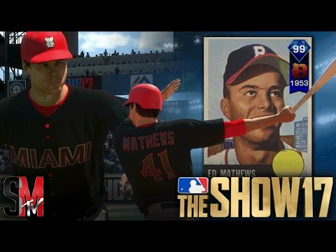 WE UNLOCKED 99 OVERALL DIAMOND EDDIE MATHEWS! MLB THE SHOW 17 GAMEPLAY
