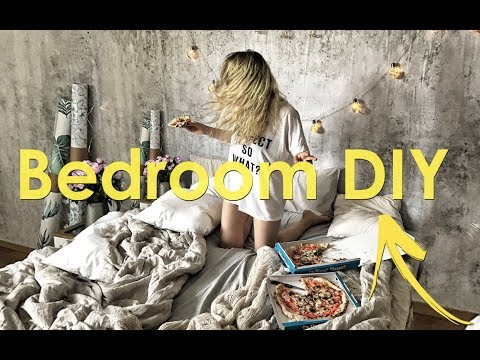 Bedroom Makeover- DIY ( Pallets Bed, Wallpaper and Frames)