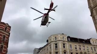 Spektakulärer Start Rettungshubschrauber Christoph 46 der DRF in Chemnitz