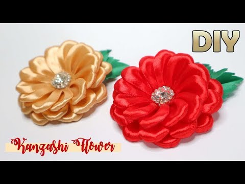 DIY - Cara Membuat Bunga Dari Pita Satin | How To Make Kanzashi Flowers Satin Ribbon
