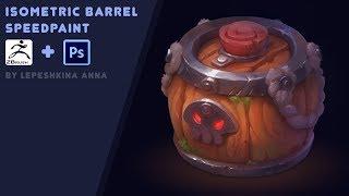 Isometric barrel speedpaint ( Zbrush and photoshop )