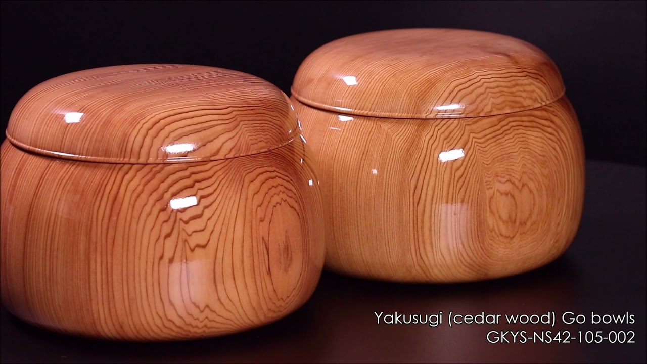 Go bowls craftsman Mr. NISHIKAWA made Yakusugi (cedar wood) Go Bowls