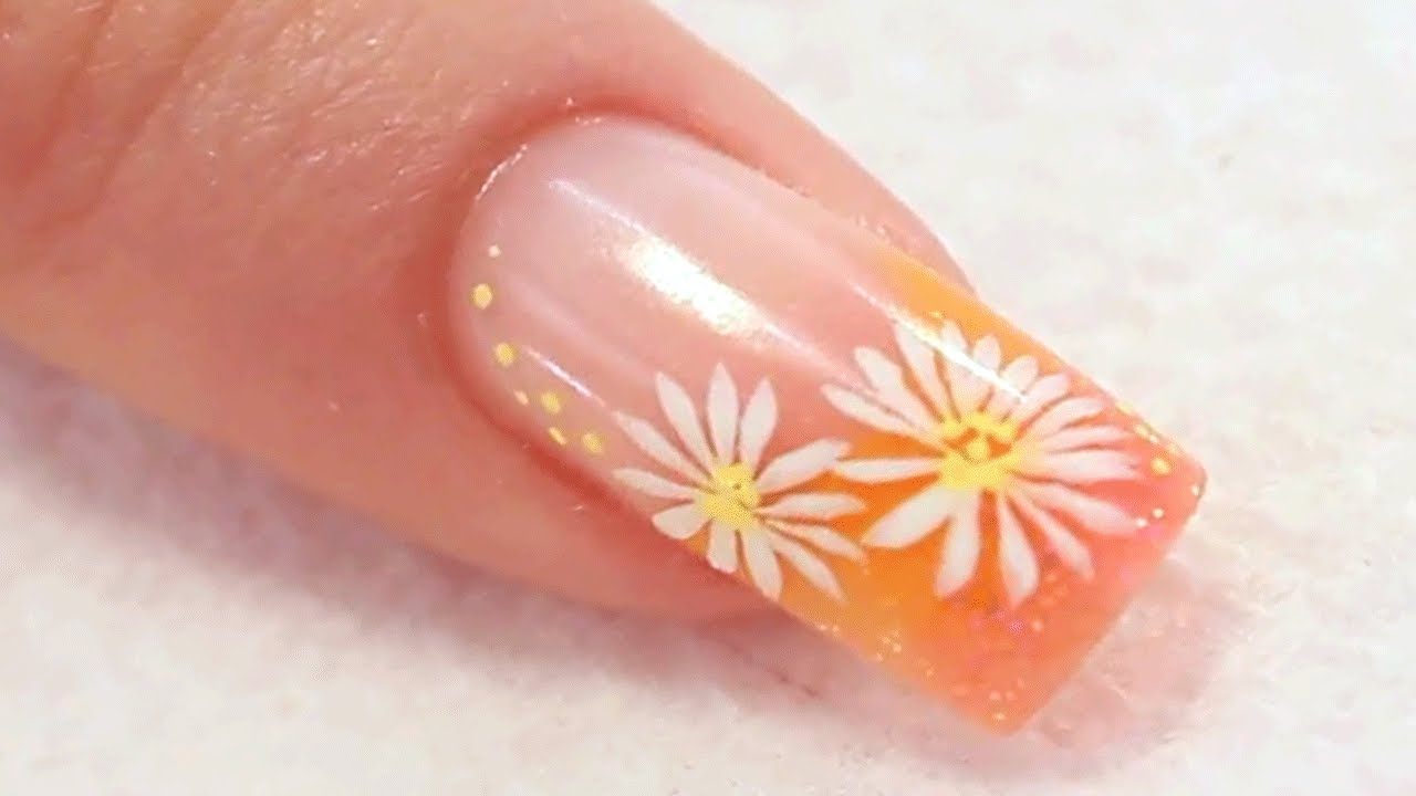 Colour French Acrylic Nail with Painted Daisies Tutorial Video by ...