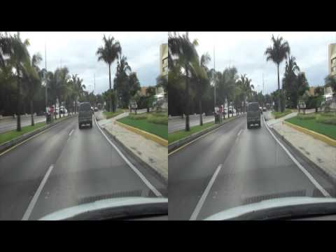 Hotel Zone drive in Cancun, Mexico in 3D, 1080p (Sony HDR-TD30V)