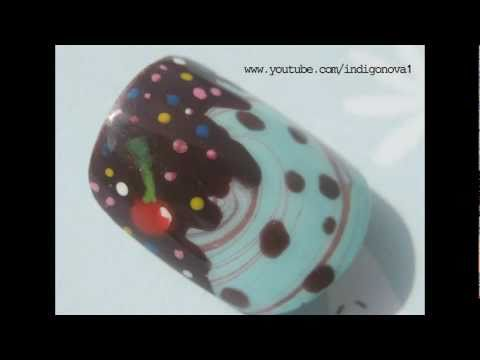 Mint Choc Chip Water Marble - Ice Cream Nail Art *Collaboration*