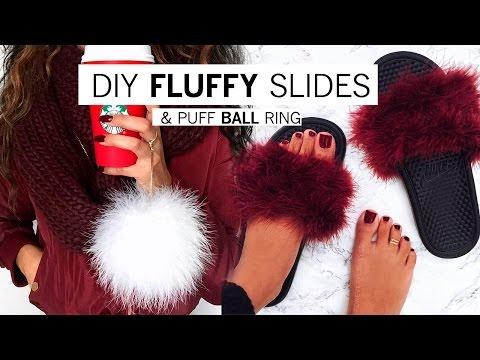 de73d7ce70f3e DIY Fluffy Slides & Puff Ball Ring | Alyssa Forever - YouTube
