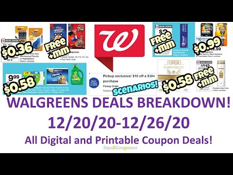 Walgreens Deals Breakdown 12/20/20-12/26/20! $10 off $30 Scenario! All Digital and Printable Deals!