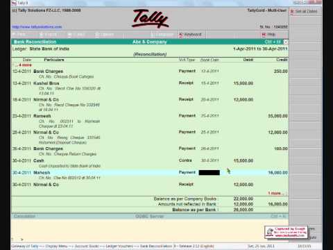 bank reconciliation in tally youtube