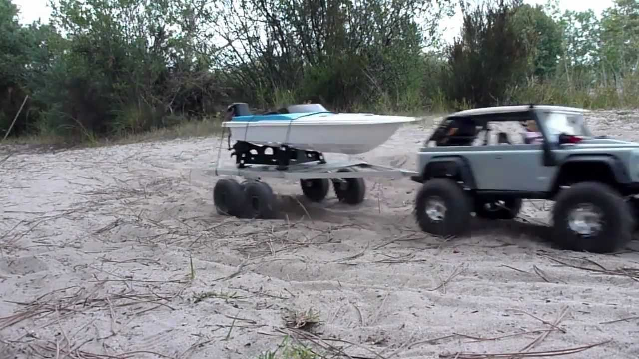 Rc 4x4 Flatbed Boat Trailer Summit Amp Scx10 Youtube