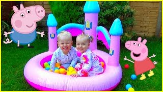 Kids playing with Huge BALL PIT Castle