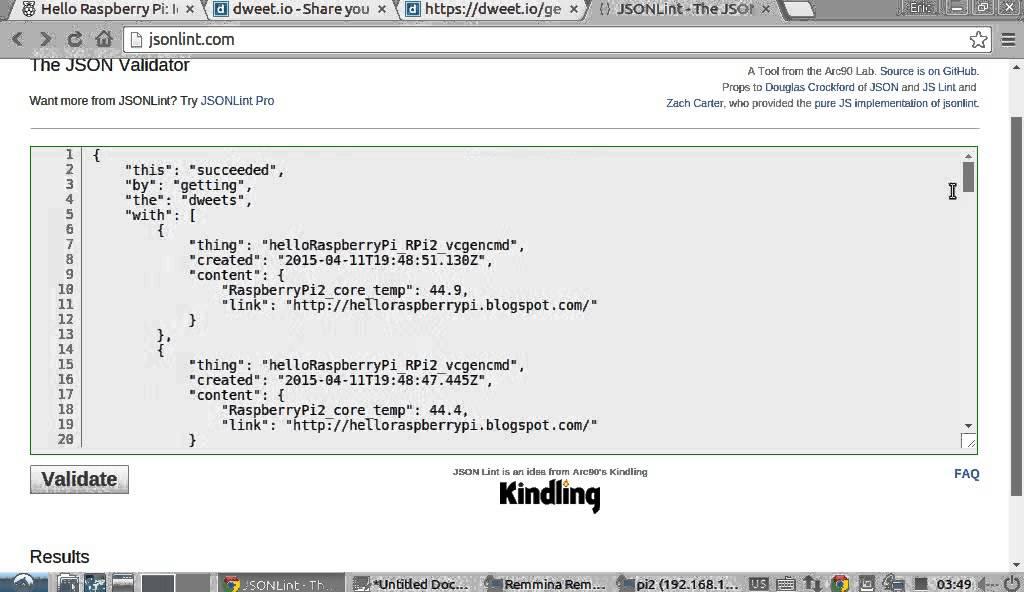 Read dweet io JSON using Java, develop and run on Raspberry