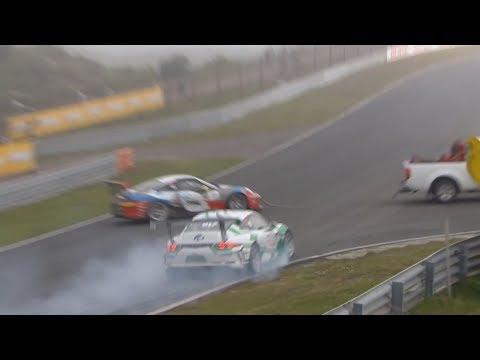 Porsche Carrera Cup France & GT3 Cup Benelux 2018. Race 2 Circuit Park Zandvoort. Start Crash