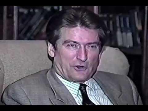 Joe DioGuardi interviews Prime Minister Sali Berisha in his office in Tirana,  Albania - Sept. 1993