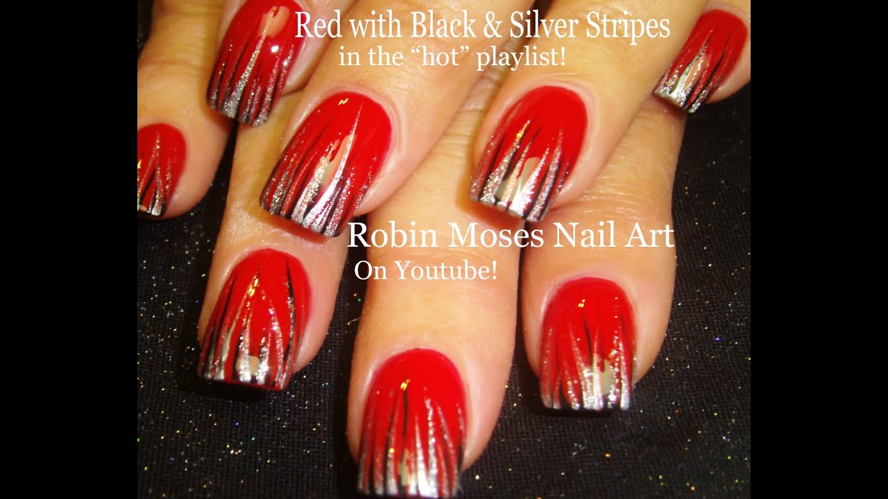 Easy Nail Art  Red Black amp; Silver Stripe Nail Design Tutorial