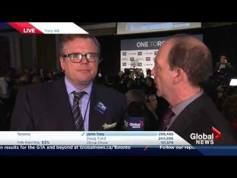 Toronto Election: Global News predicts John Tory elected mayor of Toronto