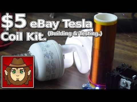$5 eBay Telsa Coil Kit Build and Test. (Plays Music Without Speakers!!)
