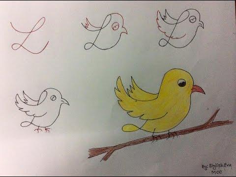 Kids friendly animal bird drawing having base as number alphabet