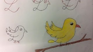Kids Friendly Animal Bird Drawing Having Base as Number & Alphabet