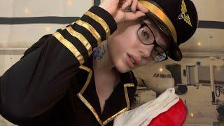 ASMR Flirty Flight Attendant Roleplay | Relaxing, Rainy Tingles