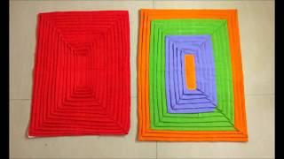 Doormat from waste clothes Square | फालतू कपड़ों से सुन्दर पायदान बनाना